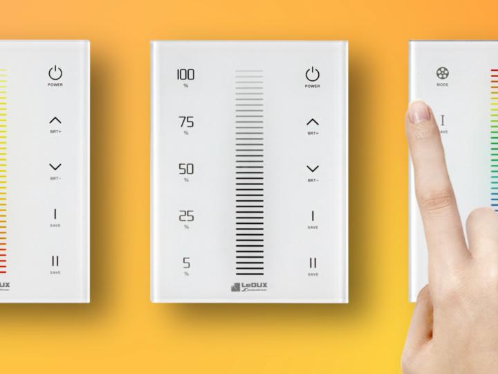 Prenez le contrôle de la lumière , voici notre nouvelle gamme de contrôleurs muraux tactiles pour rubans LED